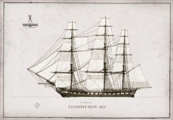 1812 US Frigate Constitution pen ink study